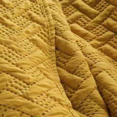 Elegancka musztardowa pikowana narzuta geometryczny wzór 170x210 cm - 170 X 210 cm - musztardowy 7