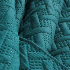 Elegancka turkusowa pikowana narzuta geometryczny wzór 170x210 cm - 170 X 210 cm - turkusowy 7
