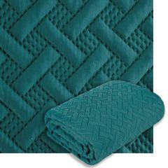 Elegancka turkusowa pikowana narzuta geometryczny wzór 170x210 cm - 170 X 210 cm - turkusowy 8