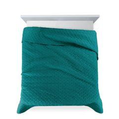 Elegancka turkusowa pikowana narzuta geometryczny wzór 170x210 cm - 170 X 210 cm - turkusowy 4