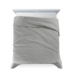 Elegancka srebrna pikowana narzuta geometryczny wzór 170x210 cm - 170 X 210 cm - popielaty 4