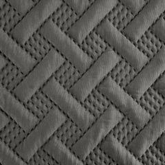 Elegancka pikowana narzuta w kolorze stalowym geometryczny wzór 170x210 cm - 170 X 210 cm - stalowy 6