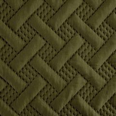 Elegancka oliwkowa pikowana narzuta geometryczny wzór 170x210 cm - 170 X 210 cm - oliwkowy 6