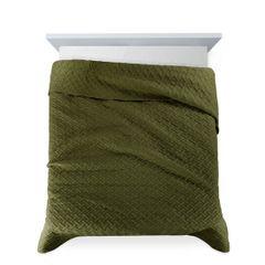 Elegancka oliwkowa pikowana narzuta geometryczny wzór 170x210 cm - 170 X 210 cm - oliwkowy 4