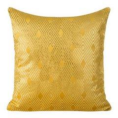 Poszewka z musztardowego welwetu ze złotym wzorem 45x45 cm - 45 X 45 cm - musztardowy/złoty 1