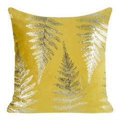 Ozdobna musztardowa poszewka z motywem złotych paproci 45x45 cm - 45 X 45 cm - żółty/złoty 1