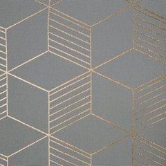 Zasłona oli we wzór geometryczny srebrny miedziany - 140 X 250 cm - stalowy/miedziany 4