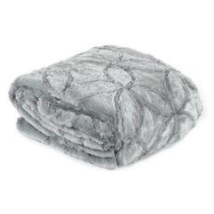 Narzuta futerko na łóżko srebrny szary 170x210 cm - 170 X 210 cm - srebrny 1