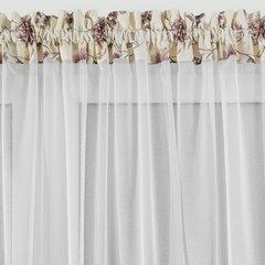 Firana z ozdobną wstawką w kwiaty tunel z grzywką 400x150cm - 400x150 -  4
