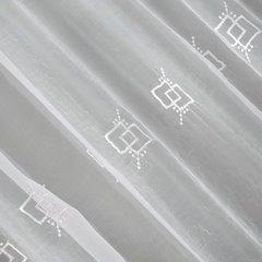 Firana haftowana z satynową listwą biała tunel 400x145cm - 400 x 145 cm - biały 5