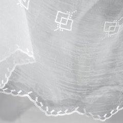 Firana haftowana z satynową listwą kremowa tunel 400x145cm - 400 x 145 cm - kremowy 3