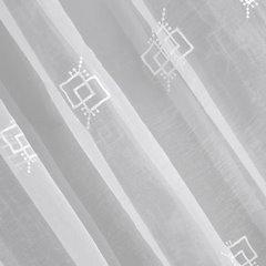 Firana haftowana z satynową listwą kremowa tunel 400x145cm - 400 x 145 cm - kremowy 5