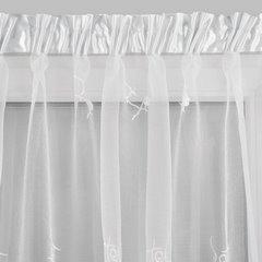 Firana haftowana z satynową listwą biała tunel 400x145cm - 400 x 145 cm - biały 4