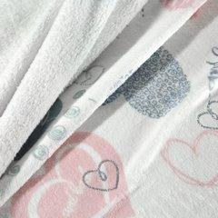 Uroczy koc z mikroflano dziewczęcy wzór w serduszka 150x200 - 150 X 200 cm - biały/szary/różowy 7