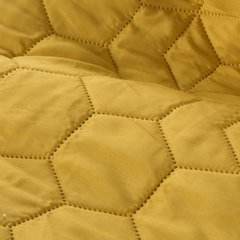 Musztardowa narzuta z pikowanym geometrycznym wzorem 220x240 cm - 220 X 240 cm - musztardowy 5