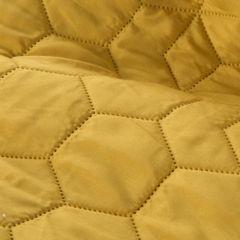 Musztardowa narzuta z pikowanym geometrycznym wzorem 220x240 cm - 220 X 240 cm - musztardowy 4