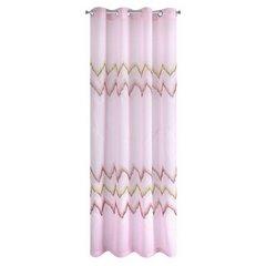 Różowa zasłona z etaminy wzór w zygzak  140x250 na przelotkach - 140x250 - Różowy 7