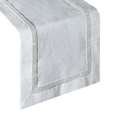Naturalny bieżnik z lamówką cyrkonii jadalnia 35x140 cm - 35 X 140 cm - biały/srebrny 1