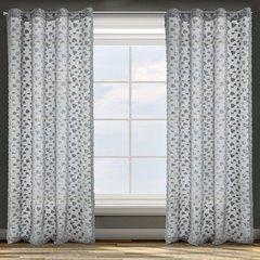 Zasłona w kolorze stalowym ze srebrnymi akcentami przelotki 140x250 cm - 140 X 250 cm - stalowy 1