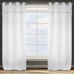 Zasłona biała z tradycyjnymi akcentami przelotki 140x250 cm - 140 X 250 cm - biały 1