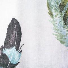 Subtelna zasłona z motywem kolorowych piórek 140x250 przelotki - 140 X 250 cm - biały/mix kolorów 4