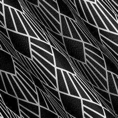 Nowoczesne zasłony geometryczny wzór 140x250 przelotki - 140 X 250 cm - biały/czarny 1