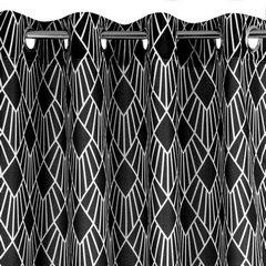 Nowoczesne zasłony geometryczny wzór 140x250 przelotki - 140 X 250 cm - biały/czarny 2