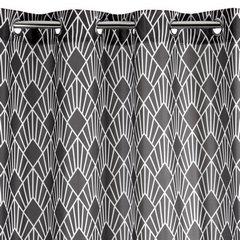 Zasłona w kolorze stalowym z białym wzorem przelotki 140x250 cm  - 140 X 250 cm - stalowy 4