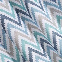 Wzorzysta zasłona geometryczny wzór 140x250 przelotki - 140x250 - Biały / Niebieski 2