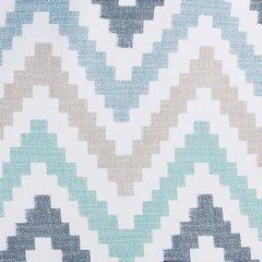 Wzorzysta zasłona geometryczny wzór 140x250 przelotki - 140x250 - Biały / Niebieski 3