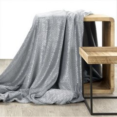 Miękki koc z mikroflano szary ze srebrnym 170x210 cm - 170 X 210 cm - jasnoszary/srebrny 2