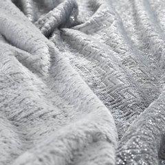 BETH SREBRNY KOC Z MIKROFLANO TŁOCZONY W JODEŁKĘ 70x160 cm DESIGN91 - 70 X 160 cm - jasnoszary/srebrny 4
