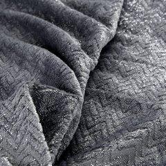 BETH STALOWY KOC Z MIKROFLANO TŁOCZONY W JODEŁKĘ 70x160 cm DESIGN91 - 70 X 160 cm - ciemnoszary/srebrny 4