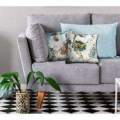 Poszewka dekoracyjna w kwiaty wiosenne 45x45 cm - 45x45 - biały, niebieski, kremowy 3