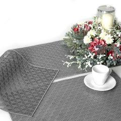Ażurowa podkładka stołowa srebrna wzór geometryczny 45x30 cm - 45 X 30 cm - srebrny 3