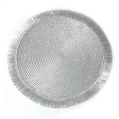 Srebrna podkładka stołowa okrągła średnica 38 cm - ∅ 38 cm - popielaty 1