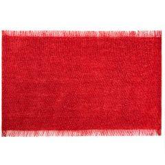 Czerwona podkładka stołowa z frędzlami 30x45 cm - 30 X 45 cm - czerwony/srebrny 1