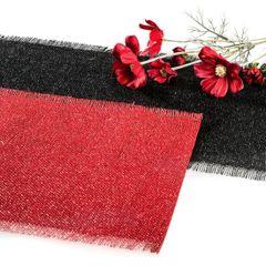 Czerwona podkładka stołowa z frędzlami 30x45 cm - 30 X 45 cm - czerwony/srebrny 2