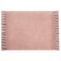 Różówa podkładka stołowa z falbaną 30x45 cm - 30 X 45 cm - różowy/srebrny 1