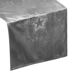Srebrny bieżnik z cyrkoniami welwetowy 40x140 cm - 40 X 140 cm - Srebrny 1