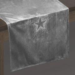Srebrny bieżnik z cyrkoniami welwetowy 40x140 cm - 40 X 140 cm - Srebrny 2