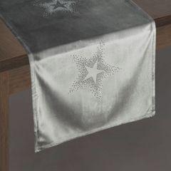 Srebrny bieżnik z cyrkoniami welwetowy 40x140 cm - 40 X 140 cm - Srebrny 3