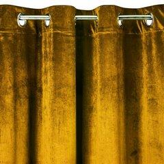 TAYLOR MUZTARDOWA ZASŁONA Z BŁYSZCZĄCEGO WELWETU NA PRZELOTKACH 140x250 DESIGN91 - 140 X 250 cm - musztardowy 6