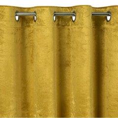 Musztardowa zasłona welwetowa z brokatem na przelotkach 140x250 cm - 140 X 250 cm - musztardowy 6