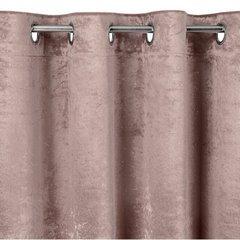 Pudrowa zasłona welwetowa z brokatem na przelotkach 140x250 cm - 140 X 250 cm - różowy 6