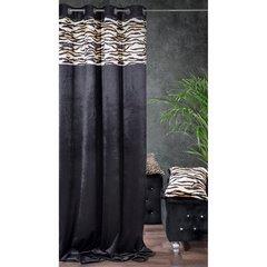 Czarne zasłony welwetowe z modnym motywem zwierzęcym -mój wybór Eva Minge - przelotki - 140 X 250 cm - czarny/brązowy 2
