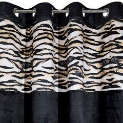 Czarne zasłony welwetowe z modnym motywem zwierzęcym -mój wybór Eva Minge - przelotki - 140 X 250 cm - czarny/brązowy 6