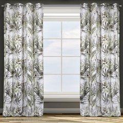 Zasłona welwetowa motyw egzotyczny przelotki 140x250 cm - 140x250 - Biały 3