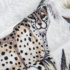 Miękki koc z mikroflano motyw egzotycznych zwierząt 150x200 cm - 150 X 200 cm - biały/zielony/grafitowy 5