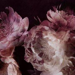 Bordowa zasłona welwetowa z motywem kwiatów 140x250 przelotki - 140x250 - Bordowy 2
